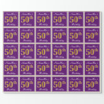 [ Thumbnail: Elegant, Purple, Faux Gold 50th Birthday + Name Wrapping Paper ]