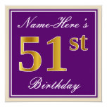[ Thumbnail: Elegant, Purple, Faux Gold 51st Birthday + Name Invitation ]