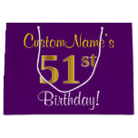 [ Thumbnail: Elegant, Purple, Faux Gold 51st Birthday + Name Gift Bag ]