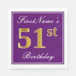 [ Thumbnail: Elegant Purple, Faux Gold 51st Birthday + Name Napkin ]