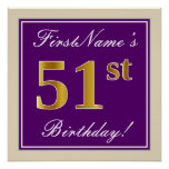 [ Thumbnail: Elegant, Purple, Faux Gold 51st Birthday + Name Poster ]