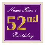 [ Thumbnail: Elegant, Purple, Faux Gold 52nd Birthday + Name Invitation ]