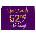 [ Thumbnail: Elegant, Purple, Faux Gold 52nd Birthday + Name Gift Bag ]