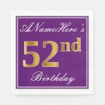 [ Thumbnail: Elegant Purple, Faux Gold 52nd Birthday + Name Napkin ]