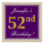 [ Thumbnail: Elegant, Purple, Faux Gold 52nd Birthday + Name Poster ]