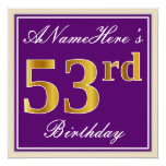 [ Thumbnail: Elegant, Purple, Faux Gold 53rd Birthday + Name Invitation ]