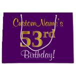 [ Thumbnail: Elegant, Purple, Faux Gold 53rd Birthday + Name Gift Bag ]