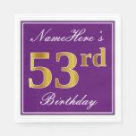 [ Thumbnail: Elegant Purple, Faux Gold 53rd Birthday + Name Napkin ]