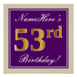 [ Thumbnail: Elegant, Purple, Faux Gold 53rd Birthday + Name Poster ]