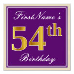 [ Thumbnail: Elegant, Purple, Faux Gold 54th Birthday + Name Invitation ]