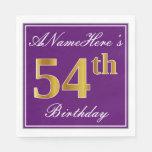 [ Thumbnail: Elegant Purple, Faux Gold 54th Birthday + Name Napkin ]