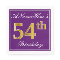 Elegant Purple, Faux Gold 54th Birthday   Name Napkin