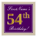 [ Thumbnail: Elegant, Purple, Faux Gold 54th Birthday + Name Poster ]