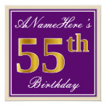 [ Thumbnail: Elegant, Purple, Faux Gold 55th Birthday + Name Invitation ]