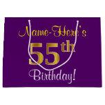 [ Thumbnail: Elegant, Purple, Faux Gold 55th Birthday + Name Gift Bag ]