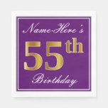[ Thumbnail: Elegant Purple, Faux Gold 55th Birthday + Name Paper Napkin ]