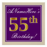 [ Thumbnail: Elegant, Purple, Faux Gold 55th Birthday + Name Poster ]