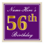 [ Thumbnail: Elegant, Purple, Faux Gold 56th Birthday + Name Invitation ]