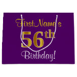 [ Thumbnail: Elegant, Purple, Faux Gold 56th Birthday + Name Gift Bag ]