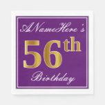 [ Thumbnail: Elegant Purple, Faux Gold 56th Birthday + Name Napkin ]