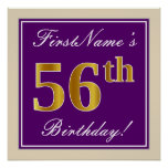 [ Thumbnail: Elegant, Purple, Faux Gold 56th Birthday + Name Poster ]