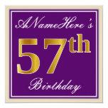 [ Thumbnail: Elegant, Purple, Faux Gold 57th Birthday + Name Invitation ]