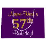 [ Thumbnail: Elegant, Purple, Faux Gold 57th Birthday + Name Gift Bag ]