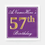 [ Thumbnail: Elegant Purple, Faux Gold 57th Birthday + Name Napkin ]