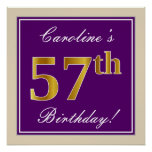 [ Thumbnail: Elegant, Purple, Faux Gold 57th Birthday + Name Poster ]