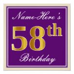 [ Thumbnail: Elegant, Purple, Faux Gold 58th Birthday + Name Invitation ]