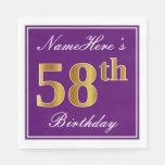 [ Thumbnail: Elegant Purple, Faux Gold 58th Birthday + Name Napkin ]
