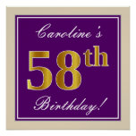 [ Thumbnail: Elegant, Purple, Faux Gold 58th Birthday + Name Poster ]