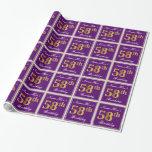 [ Thumbnail: Elegant, Purple, Faux Gold 58th Birthday + Name Wrapping Paper ]