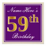 [ Thumbnail: Elegant, Purple, Faux Gold 59th Birthday + Name Invitation ]