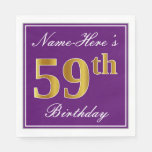 [ Thumbnail: Elegant Purple, Faux Gold 59th Birthday + Name Napkin ]
