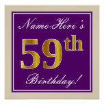 [ Thumbnail: Elegant, Purple, Faux Gold 59th Birthday + Name Poster ]