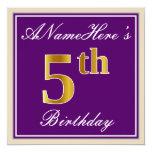 [ Thumbnail: Elegant, Purple, Faux Gold 5th Birthday + Name Invitation ]