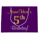 [ Thumbnail: Elegant, Purple, Faux Gold 5th Birthday + Name Gift Bag ]