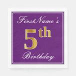 [ Thumbnail: Elegant Purple, Faux Gold 5th Birthday + Name Napkin ]