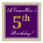 [ Thumbnail: Elegant, Purple, Faux Gold 5th Birthday + Name Poster ]