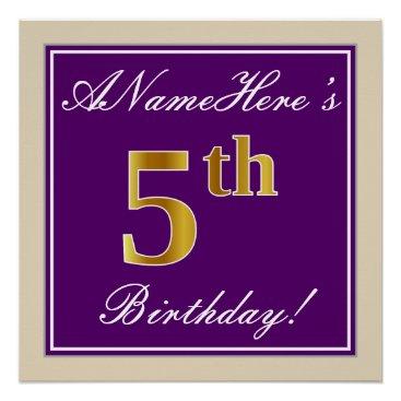 Art Themed Elegant, Purple, Faux Gold 5th Birthday   Name Poster