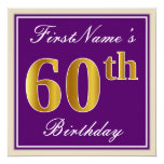 [ Thumbnail: Elegant, Purple, Faux Gold 60th Birthday + Name Invitation ]