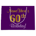 [ Thumbnail: Elegant, Purple, Faux Gold 60th Birthday + Name Gift Bag ]