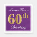 [ Thumbnail: Elegant Purple, Faux Gold 60th Birthday + Name Paper Napkin ]