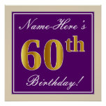 [ Thumbnail: Elegant, Purple, Faux Gold 60th Birthday + Name Poster ]