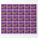 [ Thumbnail: Elegant, Purple, Faux Gold 60th Birthday + Name Wrapping Paper ]