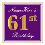[ Thumbnail: Elegant, Purple, Faux Gold 61st Birthday + Name Invitation ]