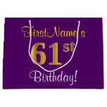 [ Thumbnail: Elegant, Purple, Faux Gold 61st Birthday + Name Gift Bag ]