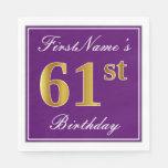 [ Thumbnail: Elegant Purple, Faux Gold 61st Birthday + Name Napkin ]