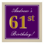 [ Thumbnail: Elegant, Purple, Faux Gold 61st Birthday + Name Poster ]